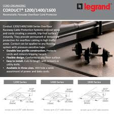 Legrand Wiremold Corduct 1600 Series 25 Ft Over Floor Cord Protector Black