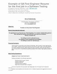 Software Testing Resume Format For Experienced Inspirational Entry