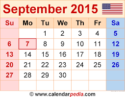 2015 monthly calendar september 2015 calendars for word excel pdf