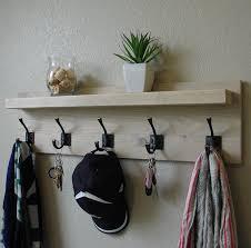 Floating Entryway Shelf Coat Rack Handcrafted modern rustic coat rack with dark bronze hooks 67
