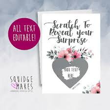 Announcement Cards Wedding Surprise Scratch Card Personalised Pregnancy Birthday