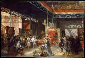 queen victoria prince albert and three of their children at the indian pavilion of the great exhibition oil painting prosper lafaye 1851 1881