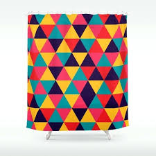 colorful triangles bright colors shower curtain curtains royal blue hooks