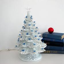 Ceramic Christmas Tree With Bird Lights Vintage Ceramic Christmas Tree Blue Doves Blue Birds Bulbs
