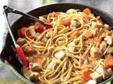 asian pork spaghettini