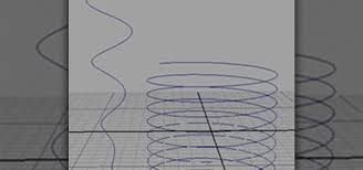 how to create a helix shaped nurbs curve in maya