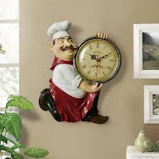 Vintage <b>Wall Clock</b> home decoration <b>Resin Chef</b> Statue watch Mute ...