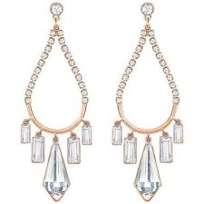 swarovski talina rose gold plated white crystal chandelier earrings 5292793