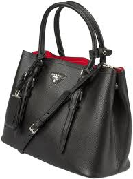 black with red lining prada saffiano cuir double medium tote bag image 1