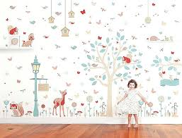 woodland wall decor into the woods woodland wall stickers wall stickers wall decor diy woodland wall