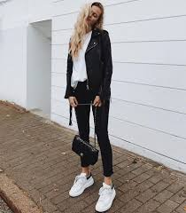 how to wear white sneakers with a black leather jacket this spring 2019