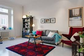 White And Red Living Room Apartment Fantastic Decoration With White Velvet Sectional Sofa