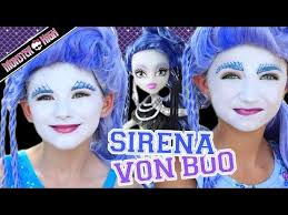 you monster high sirena von boo makeup tutorial collab cuteshairstyles kittiesmama emma and kamri of cuteshairstyles