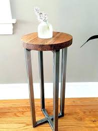 vintage outdoor metal side table round wood and reclaimed accent end with legs