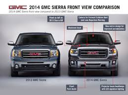 gmc trucks 2013. front comparison of 2014 and 2013 gmc sierra trucks gmc
