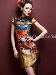 <b>Beijing Opera</b> Mark <b>Pattern</b> Short Cheongsam Chinese Qipao Dress