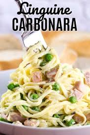 linguine carbonara ready in 15 minutes