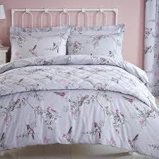 asda bird print duvet cover beautiful birds grey reversible and pillowcase set main
