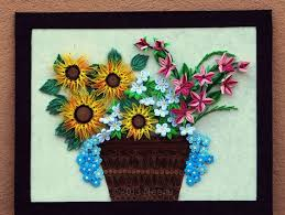 Paper Quilling Flower Baskets Paper Quilled Flowers In The Quilled Basket By Neenuhandicraft