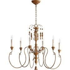 quorum international nto french umber 28 inch six light chandelier