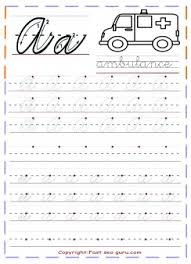 Printable Cursive Handwriting Practice Sheets Letter A