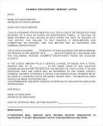 Certified Demand Letter