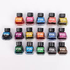 <b>30ml 16 Colors</b> Glass Smooth Writing Fountain Pen Ink Refill School ...