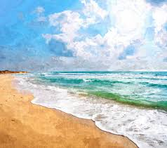 beach painting oil