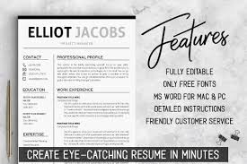 Minimalist Resume Template Instant Download Clean Cv By
