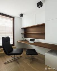 small office. minimal clean wooden desk home office workspace zen hola design small