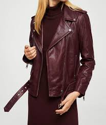 womens maroon motorcycle leather jacket