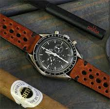 20mm vintage rally racing watch strap band on a omega sdmaster moonwatch bandrbands