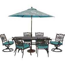 outdoor dining sets for 6. hanover traditions 7-piece outdoor rectangular patio dining set, 2 swivel rockers, umbrella sets for 6