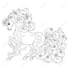 Paard Met Bloemen En Bogen Vector Kleurende Anti Stress Kleurboek