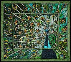 peacock mosaic of tile and broken glass by laura harris beauty