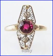 antique victorian ruby 14k filigree yellow gold vine estate jewelry ring old