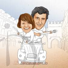 wedding gift caricatures and wedding guest book ideas singing in the street caricature your