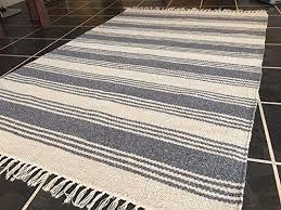 soft dark grey off white stripe cotton jute indian rug 120cm x 180cm