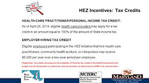 Health Care Tax Credit Chart Health Enterprise Zone Tax Credit Overview Christina Shaklee