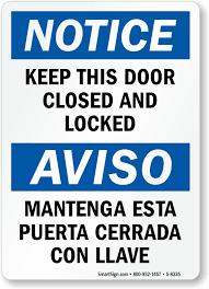 Lock Door Signs Keep Door Locked Signs