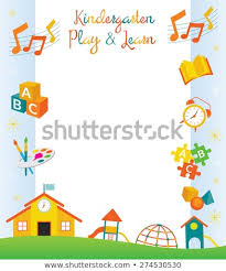 Kindergarten Borders Kindergarten Preschool Kids Objects Border Frame Stock Vector