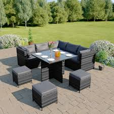 grey rattan dining table. on sale modular corner cube dining set in dark mixed grey with cushions rattan table u
