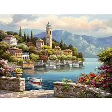 40x30cm beautiful village diy paint by numbers oil painting kit canvas