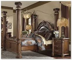 Fancy bedroom set in rustic style with bed frame which has four wood ...