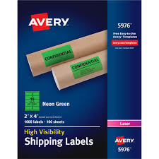 Avery Neon Shipping Labels Permanent Adhesive 4 Width X 2 Length Rectangle Laser Neon Green Paper 10 Sheet 1000 Box