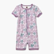 Printed Short Sleeve Baby Pajamas Girl \u0026 Girls Footed | Tea Collection