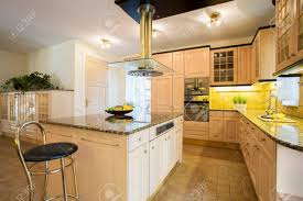 Close up Of Kitchen Island In Designed Kitchen Stock Photo Picture