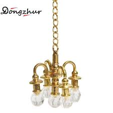 whole dongzhur dollhouse miniature furniture 1 12 doll house scene accessories mini lamp chandelier can not light miniature chandelier dollhouse for