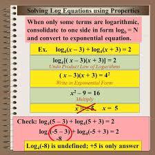 aim logarithm equations course alg 2 trig solving log equations using