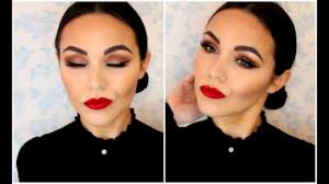 spanish inspired makeup tutorial tanned skin bold red lip